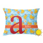 Rubber Duckies & Flowers Outdoor Throw Pillow (Rectangular) (Personalized)