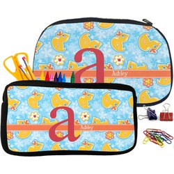 Rubber Duckies & Flowers Pencil / School Supplies Bag (Personalized)