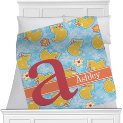 Rubber Duckies & Flowers Minky Blanket (Personalized)