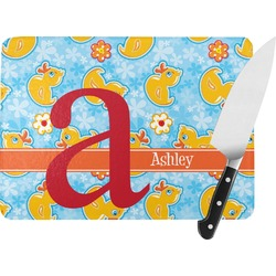 Rubber Duckies & Flowers Rectangular Glass Cutting Board (Personalized)