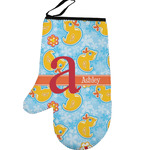 Rubber Duckies & Flowers Left Oven Mitt (Personalized)