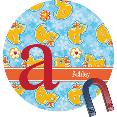 Rubber Duckies & Flowers Round Magnet (Personalized)