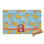 Rubber Duckies & Flowers Pet Bowl Mat (Personalized)