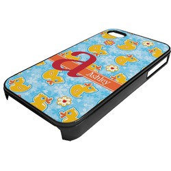 Rubber Duckies & Flowers Plastic 4/4S iPhone Case (Personalized)