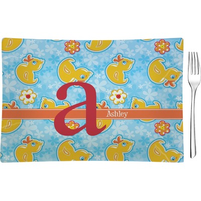 Rubber Duckies & Flowers Rectangular Glass Appetizer / Dessert Plate - Single or Set (Personalized)