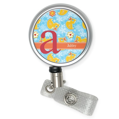 Rubber Duckies & Flowers Retractable Badge Reel (Personalized)