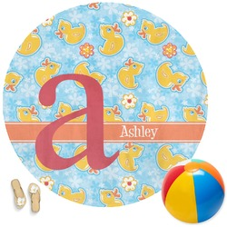Rubber Duckies & Flowers Round Beach Towel (Personalized)