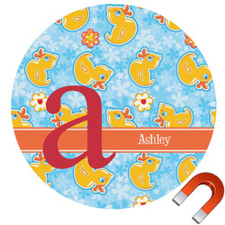Rubber Duckies & Flowers Round Car Magnet (Personalized)