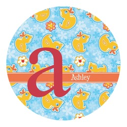 Rubber Duckies & Flowers Round Decal - Custom Size (Personalized)