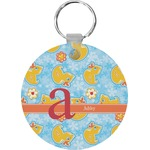 Rubber Duckies & Flowers Round Keychain (Personalized)