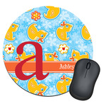 Rubber Duckies & Flowers Round Mouse Pad (Personalized)