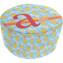 Rubber Duckies & Flowers Round Pouf Ottoman (Personalized)