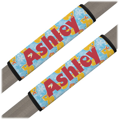 Rubber Duckies & Flowers Seat Belt Covers (Set of 2) (Personalized)