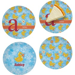 """Rubber Duckies & Flowers Set of 4 Glass Appetizer / Dessert Plate 8"""" (Personalized)"""