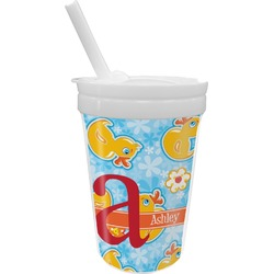 Rubber Duckies & Flowers Sippy Cup with Straw (Personalized)