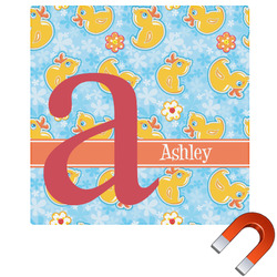 Rubber Duckies & Flowers Square Car Magnet (Personalized)