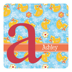 Rubber Duckies & Flowers Square Decal - Medium (Personalized)