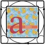 Rubber Duckies & Flowers Square Trivet (Personalized)