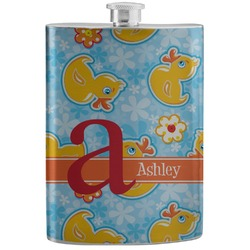Rubber Duckies & Flowers Stainless Steel Flask (Personalized)