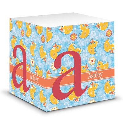 Rubber Duckies & Flowers Sticky Note Cube (Personalized)