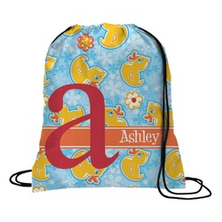 Rubber Duckies & Flowers Drawstring Backpack (Personalized)