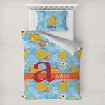 Rubber Duckies & Flowers Toddler Bedding w/ Name and Initial