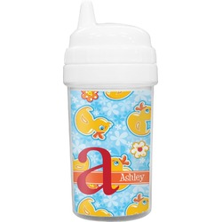Rubber Duckies & Flowers Toddler Sippy Cup (Personalized)
