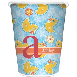 Rubber Duckies & Flowers Waste Basket - Double Sided (White) (Personalized)