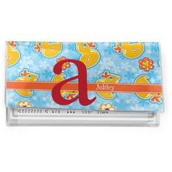 Rubber Duckies & Flowers Vinyl Checkbook Cover (Personalized)