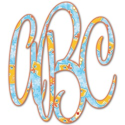 Rubber Duckies & Flowers Monogram Decal - Custom Sized (Personalized)