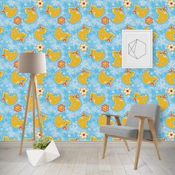 Rubber Duckies & Flowers Wallpaper & Surface Covering