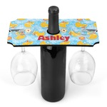 Rubber Duckies & Flowers Wine Bottle & Glass Holder (Personalized)