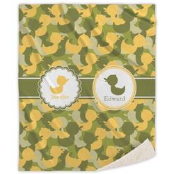 Rubber Duckie Camo Sherpa Throw Blanket (Personalized)