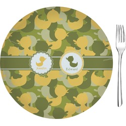 """Rubber Duckie Camo 8"""" Glass Appetizer / Dessert Plates - Single or Set (Personalized)"""