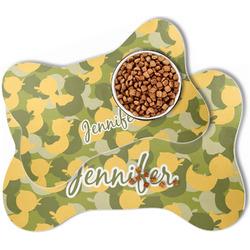 Rubber Duckie Camo Bone Shaped Dog Food Mat (Personalized)