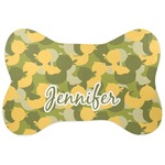 Rubber Duckie Camo Bone Shaped Dog Food Mat (Personalized)