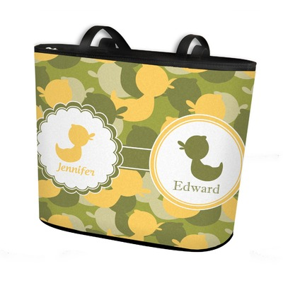 Rubber Duckie Camo Bucket Tote w/ Genuine Leather Trim (Personalized)