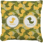 Rubber Duckie Camo Faux-Linen Throw Pillow (Personalized)