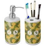 Rubber Duckie Camo Ceramic Bathroom Accessories Set (Personalized)