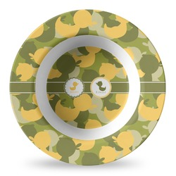 Rubber Duckie Camo Plastic Bowl - Microwave Safe - Composite Polymer (Personalized)