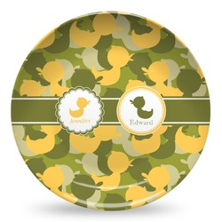 Rubber Duckie Camo Microwave Safe Plastic Plate - Composite Polymer (Personalized)