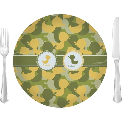 "Rubber Duckie Camo Glass Lunch / Dinner Plate 10"" (Personalized)"