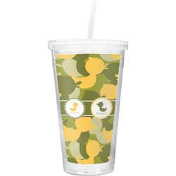 Rubber Duckie Camo Double Wall Tumbler with Straw (Personalized)