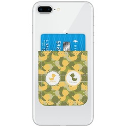 Rubber Duckie Camo Genuine Leather Adhesive Phone Wallet (Personalized)