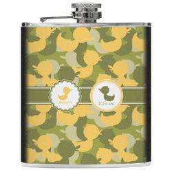 Rubber Duckie Camo Genuine Leather Flask (Personalized)