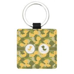 Rubber Duckie Camo Genuine Leather Rectangular Keychain (Personalized)