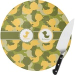 Rubber Duckie Camo Round Glass Cutting Board (Personalized)