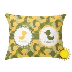 Rubber Duckie Camo Outdoor Throw Pillow (Rectangular) (Personalized)