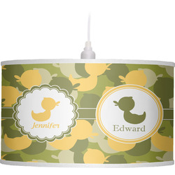 Rubber Duckie Camo Drum Pendant Lamp Linen (Personalized)