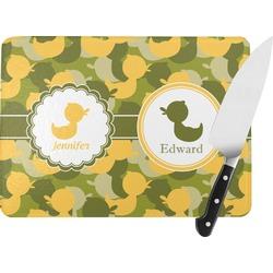 Rubber Duckie Camo Rectangular Glass Cutting Board (Personalized)
